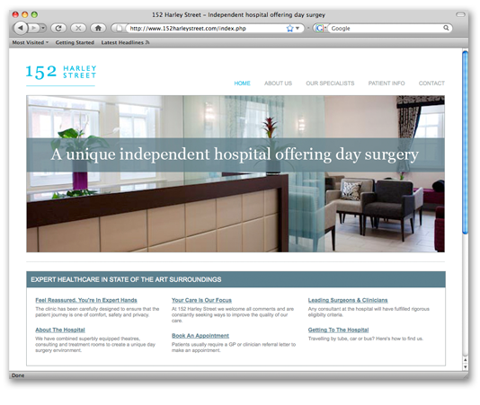 152 Harley Street Website Home Page